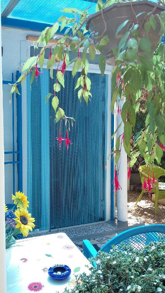 rideau de porte Sol bleu argent